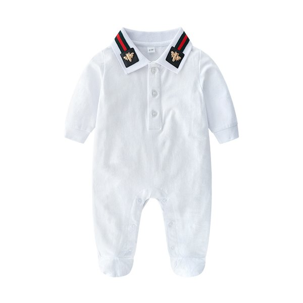 Autumn Baby Boys designer Romper Infant Stripe Bee Long Sleeve Jumpsuit Fashion Newborn Cotton Bodysuit Girls Fall Casual Onesie Y2550