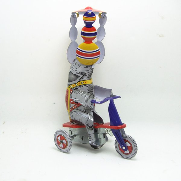 Adult Collection Retro Wind up toy Metal Tin elephant rides a tricycle Mechanical Clockwork toy figures model kid christmas gift