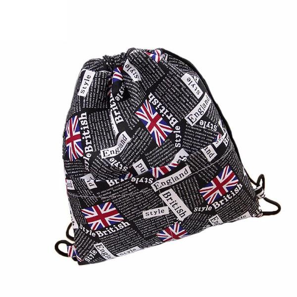 Women Backpacks Fashion England Flag Printing Drawstring Bag Beam Port Pouch Backpack Shopping Bag Travel Bags Student School Bag
