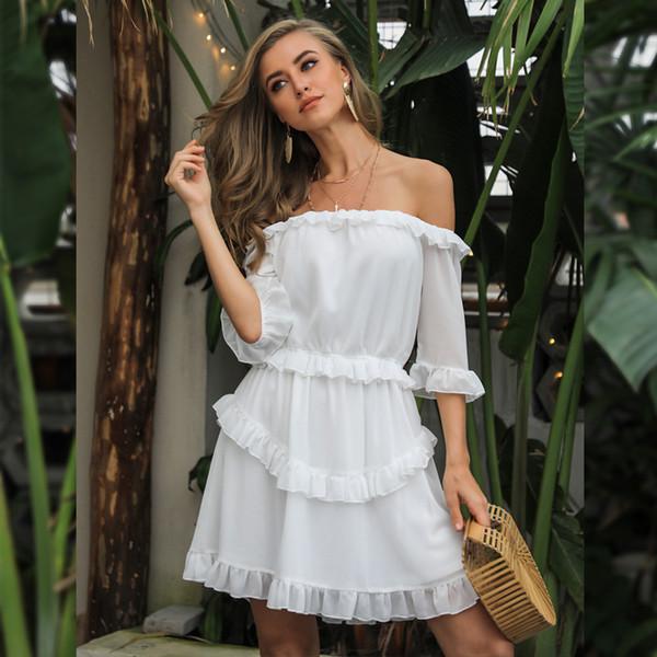 Yeni Seksi Moda Kadınlar Elbiseler Beyaz Straplez Mini Balo Kulübü Akşam Parti Elbiseler Fener Kollu Yaz Elbiseler FT8222