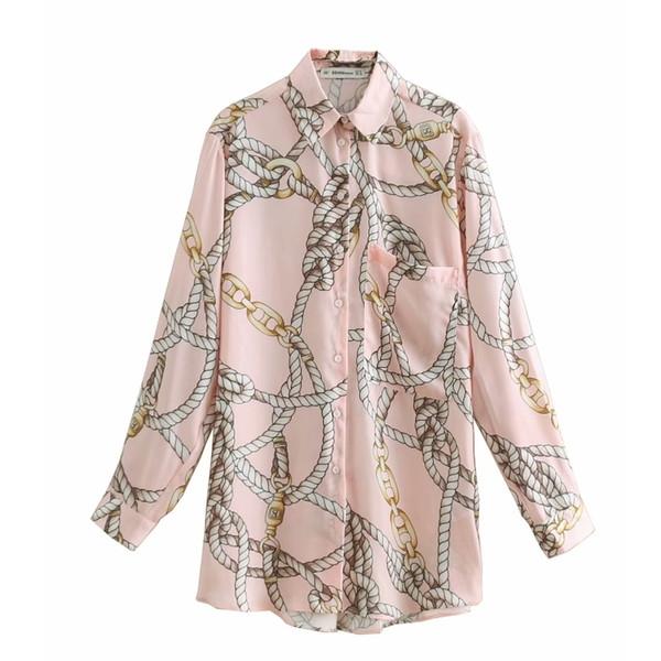 New Fashion Chain Print Casual Pink Smock Blouse Shirts Women Pocket Chemise Chic Blusas Long Sleeve Femininas Tops Ls3162 Q190521