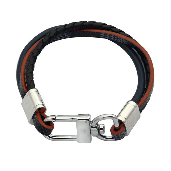Mens Leather Bangle Bracelets Black/Brown L letter Stainless Steel Clasp three Wrap Wristband Beautiful Titanium Bracelets bangles for Men