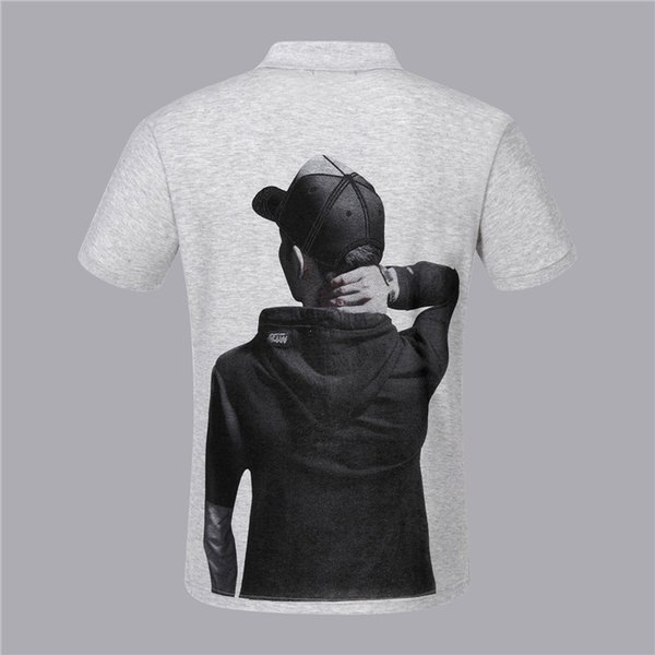 PP Fashion Short sleeved Summer clothing t shirts for men Tees 2019 Cool products Handsome Back character print design