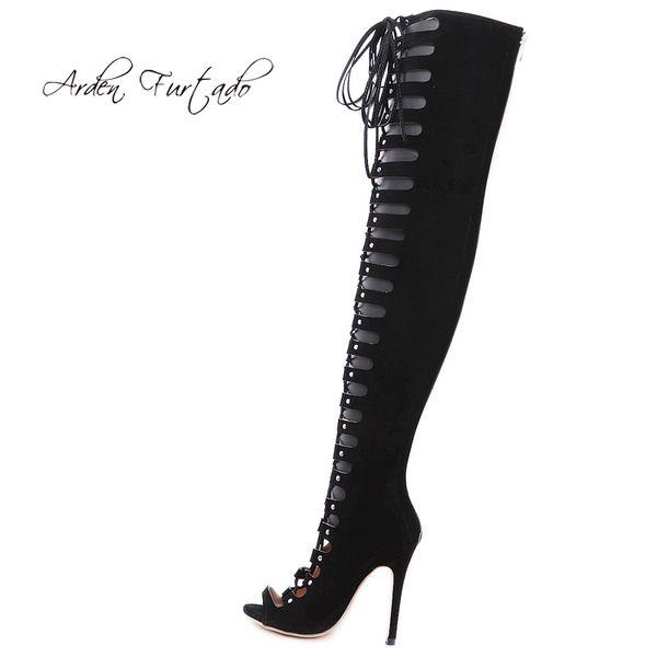 Summer 2019 fashion women's shoes peep toe stilettos heels cross lacing zipper ladies boots gladiators over the knee high boots