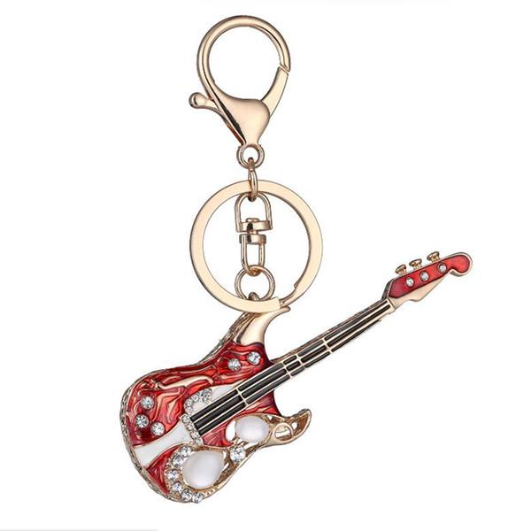 Guitar Keychains Keyfob Zinc Alloy Rhinestone Crystal Music Instrument Car Keyrings Couples Lovers Souvenir Gifts Bag Charm Decor