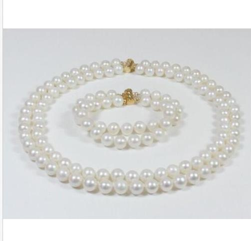 """DOUBLE STRANDS SOUTH SEA AAA 9-10MM WHITE PEARL NECKLACE 18"""" + BRACELET 8"""" 14K"""