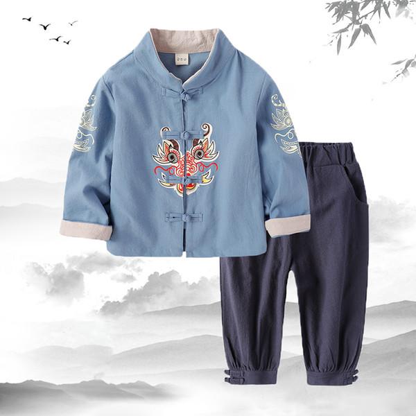Día Tangsuit de los niños del estilo chino del dragón ropa asiática de la niña muchacho ocasional 2019 Nuevo Festival de ropa Outfist traje de los niños