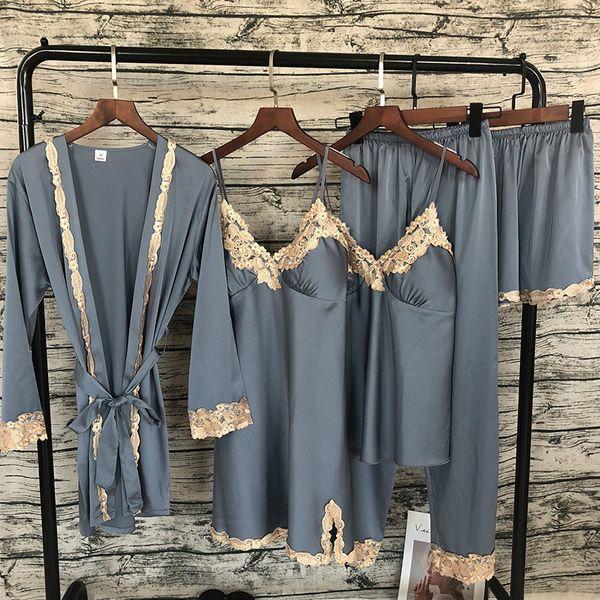 Zoolim Women Pajamas Sets With Pants 5 Pieces Satin Sleepwear Pijama Silk Embroidery Sleep Lounge Pyjama With Chest Pads Y19042004