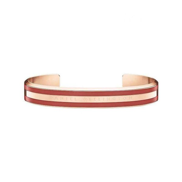 4pcs/Lot Rose Gold Wide DW Bracelets 100% Titanium Steel Cuff With Pink Gray White Red Stripe Bangle For Women Men