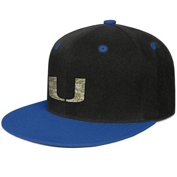 Майами ураганы футбол камуфляж логотип синий для мужчин и женщин хип-хоп плоские поля крышка прохладный дизайнер гольф дизайн свой собственный установлены пользовательские бес