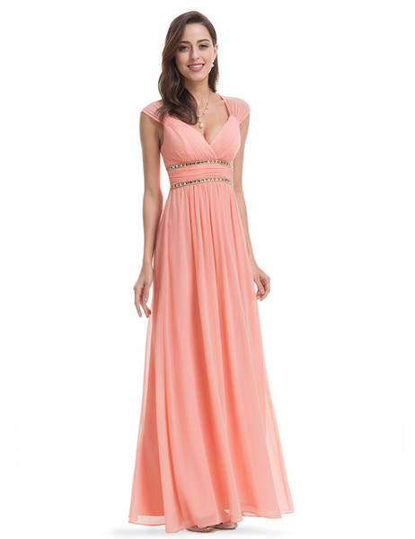 V Neck Handmade Rhinestone Crystal Cap Sleeve Peach Floor Length A Line 2019 Chiffon Bridesmaid Dress Hollow Evening Party Wedding Prom Gown