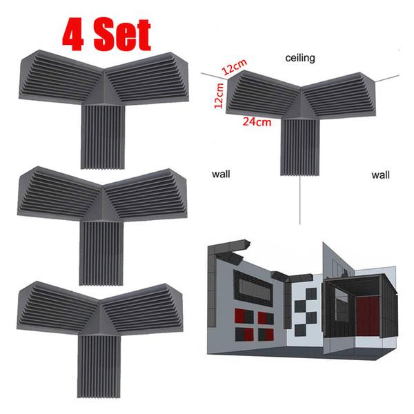 4 Conjunto Pequeno Baixo Armadilha Espuma Canto Cube Tratamento de Som Parede Estúdio Painel de Absorção de Som Cunha À Prova de Som Esponja À Prova de Fogo
