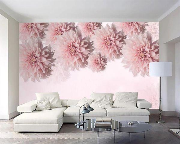 3d Wallpaper Wände Schöne romantische Dali Chrysanthemum Innendekoration romantische warme Tapeten