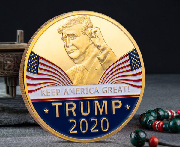 best selling Great fashion 2020 Donald Trump Commemorative Coin American President Avatar Gold Coins Silver Badge Metal Craft Collection Republican DHL