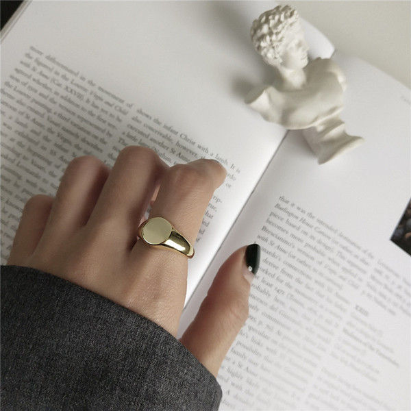 100% 925 Sterling Silver Jewelry Glazed Oval shaped Open Statement Rings for Women anillos mujer 18k Gold Color Wedding Gifts