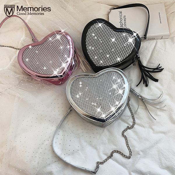 2019 Nuevo Láser Cadena de Mensajero Bolsa de Las Mujeres Borlas de Diamante Hombro Bolso Bandolera Tendencia de Moda Paquete Salvaje Pequeño Corazón Sac