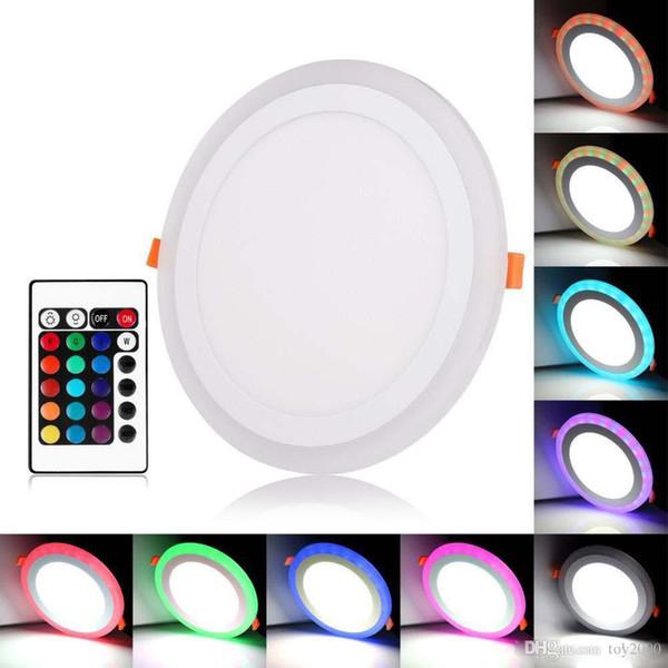 Acrylique Dimmable double Couleur Blanc RGB Embeded Panneau lumineux LED 6W 9W 18W 24W luminaire encastré Eclairage intérieur avec Controlle à distance