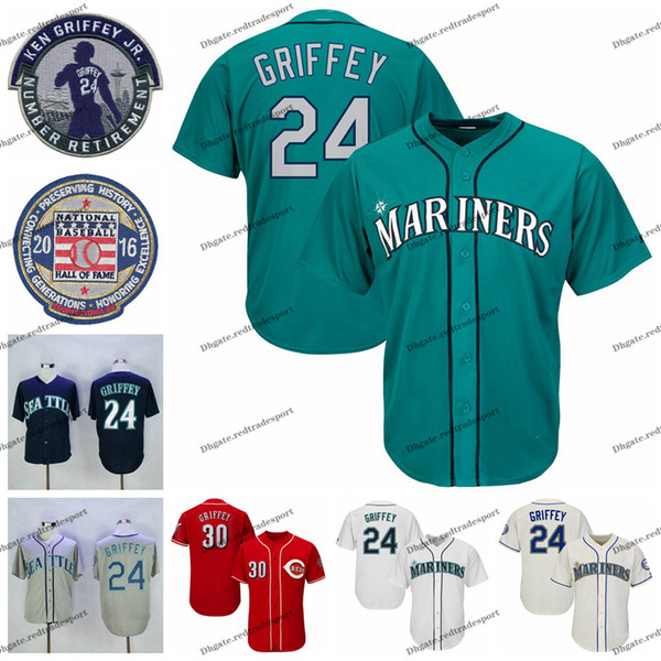 best selling NCAA Mens Vintage 2016 Hall Of Fame 24 Ken Griffey Jr. Teal Baseball Jersey 30 Ken Griffey Jr. Red Shirts Retired Patch