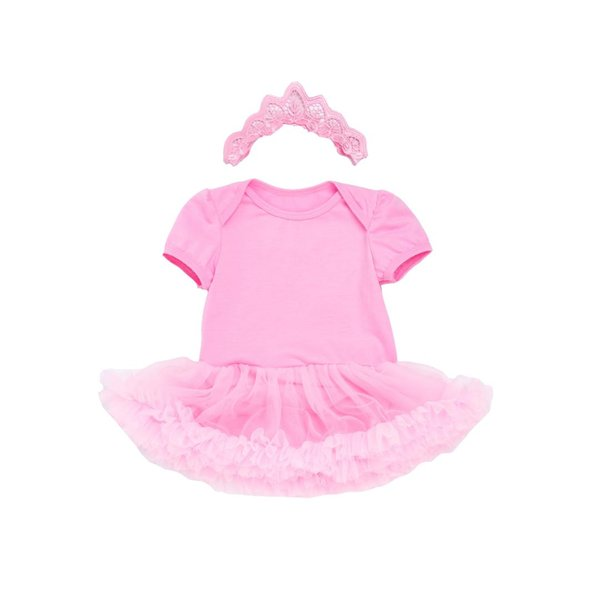 Baby Girls Bodysuits Gauze Dresses Pink Outfit Tulle Flower Dresses With Headband Ball Gown