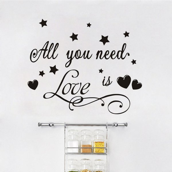 1 Pcs All You Need Is Love Vinyl Romantic Quotes Wall Stickers Diy Home Decor ,Stars And Hearts Vinyl Art Decals Home Decoration