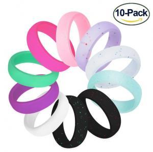 Women Glitter Silicone Ring Couples Stackable Yoga Rubber Band Wedding Gym Crossfit Rings Band Ring 10pcs/set OOA6181