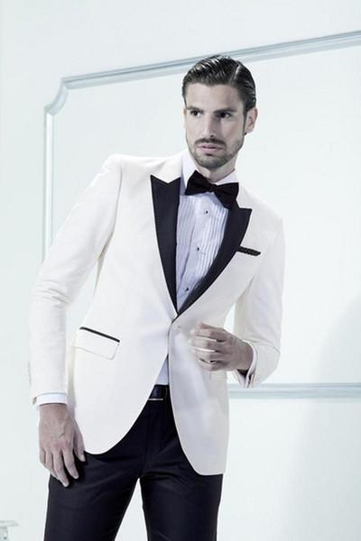 Classic Designe Ivory Men Wedding Dress Excellent Groom Tuxedos Hot Sale Jacket Blazer Men Business Dinner/Prom Suit(Jacket+Pants+Tie) 519