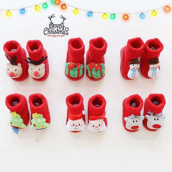 Christmas Cartoon Cotton Baby Socks For Newborn Gift Anti-Slip Warm Socks Slipper Shoes Boots Child Boy Girl Winter Baby Socks