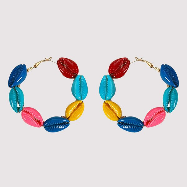 Bohème Coquillage Rond Cerceau Boucle D'oreille Femmes De La Mode Multicolore Filles Boucles D'oreilles Coréen Élégant Unique Conception Bijoux De Mariage Vente Chaude