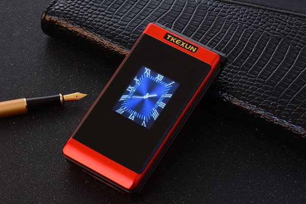Luxury Unlocked Flip Double Screen Dual SIM Card MP3 FM Gold cellphone Big Button keyboard letters loudly speaker Old Man mobile cell phone