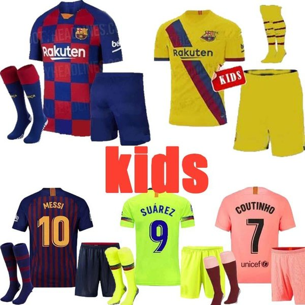 Лучший Quali19 20 Барселона футбольные майки дети Месси 10 Суарес Пике Видаль 2020 дома в гостях третий комплект комплект ребенок человек мальчик Джерси футбольные майки