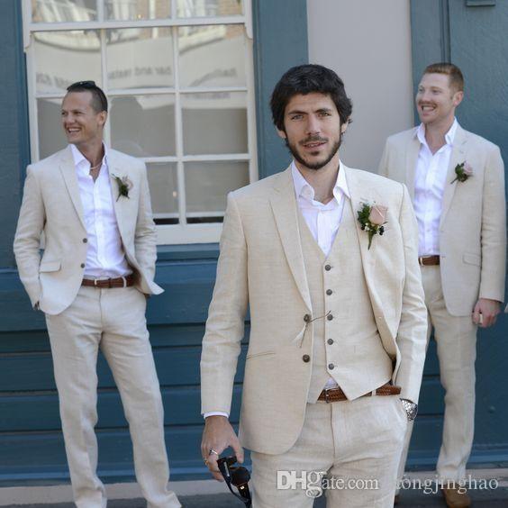 코트 바지 아이보리 베이지 비치 리넨 남자 정장 2019 웨딩 수트 Bestmen 여름 결혼 신랑 착용 턱시도 Three Piece (Jacket + Pant + Vest)