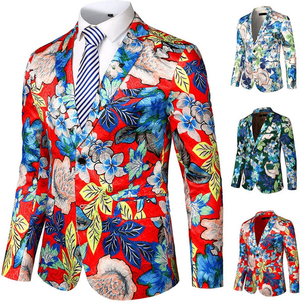 Mens Suit Floral Man Blazer Party West Slim Body Flower Jacket Corner Lapel Sports Jacket Floral Printed Suit