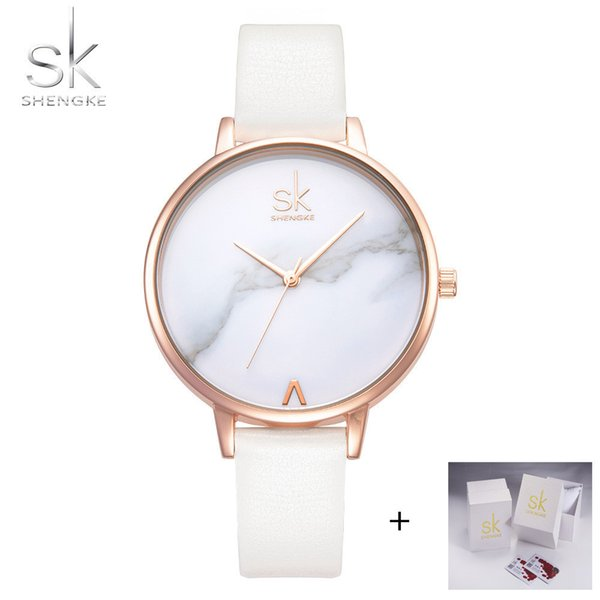 Shengke Top Brand Fashion Ladies Leather Female Quartz Watch Women Thin Casual Strap Watches Reloj Mujer Marble Dial Sk Q190430