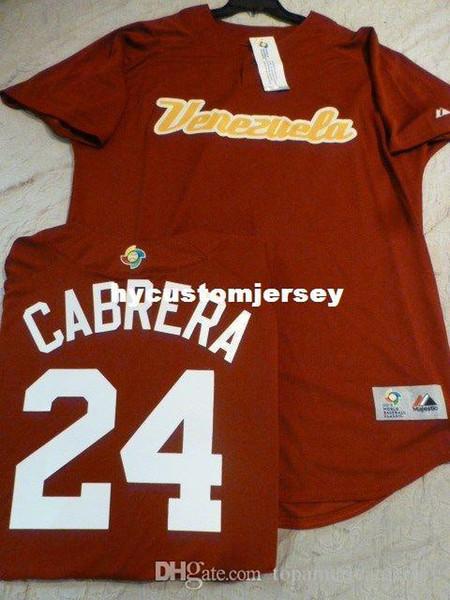 Barato personalizado EQUIPE VENEZUELA # 24 MIGUEL CABRERA Top Mundial de Beisebol Clássico Jersey Mens costurado jerseys tamanho grande e alto XS-6XL venda