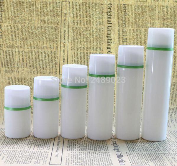 30ml 50ml 100ml White Cap Green Edge Cosmetic Container Empty Airless Pump Plastic Bottles Travelling Liquid Use 10pcs/lot