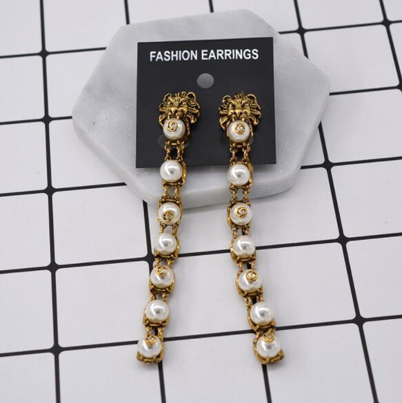 Domineering freshwater pearl lion head retro earrings ear clips long fashion nightclub earrings wholesale