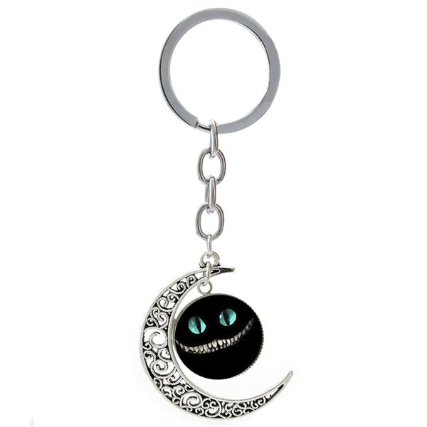 TAFREE Cat Evil Smile Grin Alice moon Pendants keychain Cartoon animal Turtles dragon Key Chain key Ring Car Key Bag Purse Jewelry T187