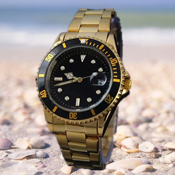 871cbad4ed0 2018 Famoso design de moda homens grande relógio de ouro de aço inoxidável  de prata de