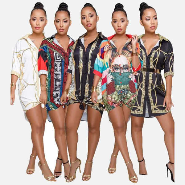 Womens Designer Dress Fashion Printed Dresses Casual Character Letter Pattern Shirt Sexy Geometric Pattern Plussize Clothes for 2019 Summer