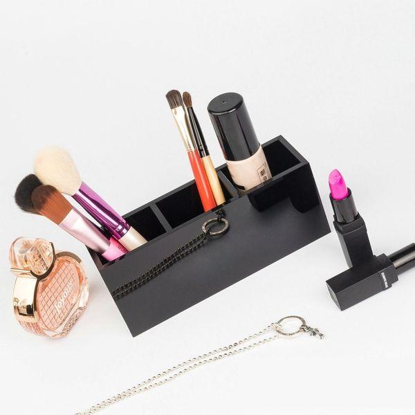 7.Luxury fashion 3 grids black Acrylic storage lipsticks holder Make-up brush Storage Case Jewelry Organizer Counter gift for vip With box