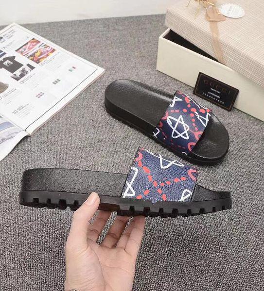 Glissière en caoutchouc de créateur sandales florales de brocart pour hommes pantoufles Baskets de chaussures tongs femmes rayé plage pantoufle causale US4.5-12 222