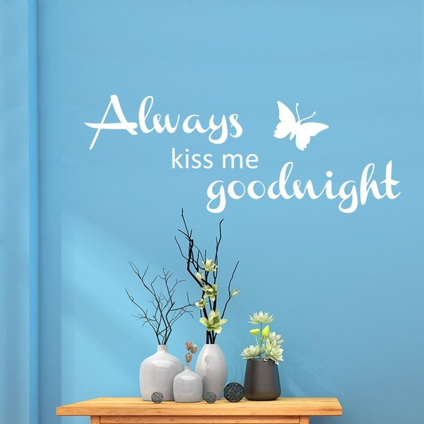 Always Kiss Me Goodnight Wall decals Quotes Vinyl Lettering and Saying Wall Art Sticker Murals for Kids Room Decoration Variety of Colors