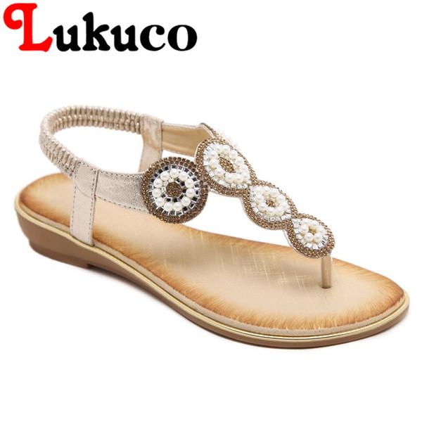 2018 Lukuco women thong sandals flat heel CN large size 39 40 41 42 string bead decoration lady elastic band shoes