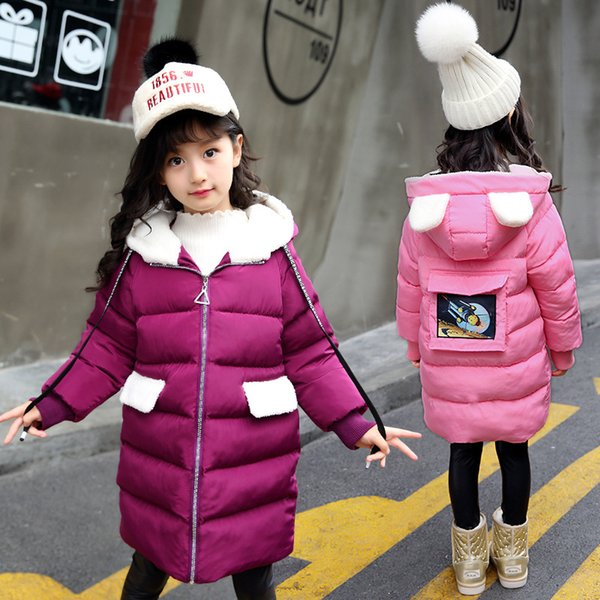 Children Winter Jacket Girl Winter Coat Kids Warm Thick Hooded Long Down Coats for Teenage 4Y-13Y 2018 New Fashion Outerwear