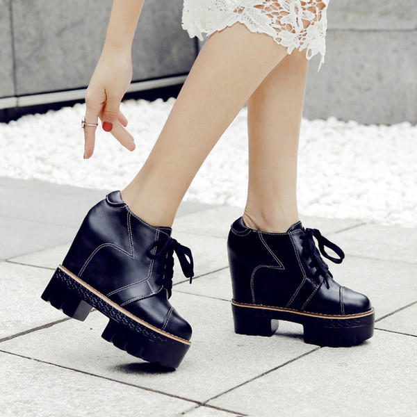 YMECHIC 2019 Lace Up Winter Ankle Boots For Women Black Beige Sewing Punk Goth Shoes Creepers Height Increasing Retro Woman Boot Boots Online Leather