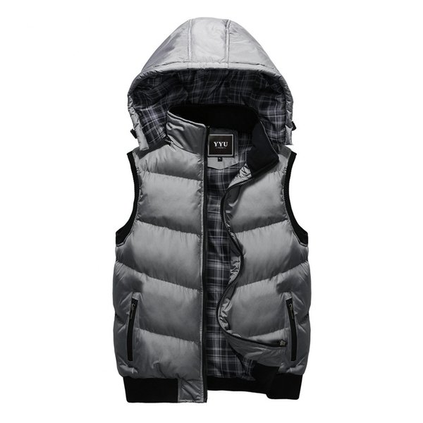 New Winter Warm Hooded Vest Men's Hat Detachable Sleeveless Jackets Mens High Quality Casual Male Coat Homme Plus Size M-5XL