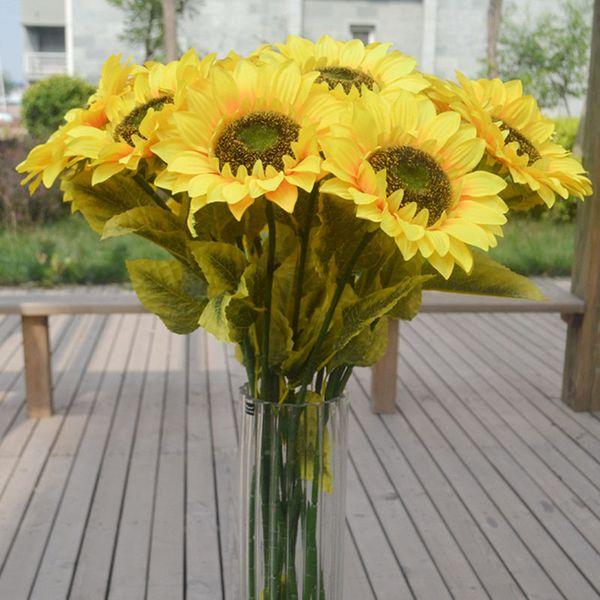 Nuevo diseño girasol falso flor del sol girasoles artificiales 72 cm de largo para el jardín de su casa balcón alféizar decoración color amarillo