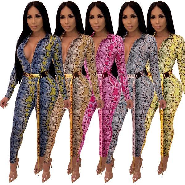 312d8559a 2019 mulheres sexy roupas v pescoço grão de pele de cobra manga comprida  skinny bodycon clube