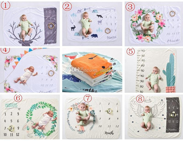 Xmas ins 30*40inch newborn photography background props baby photo prop fleece floral deer printed backdrops infant swaddle blankets wraps