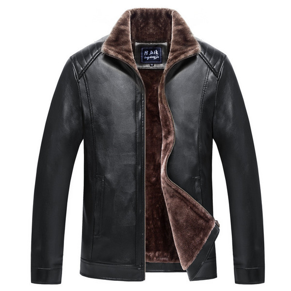 Leather Jacket Men Coats 4XL Brand High Quality PU Outerwear Men Business Casual Winter Faux Fur Thickened Male Jacket